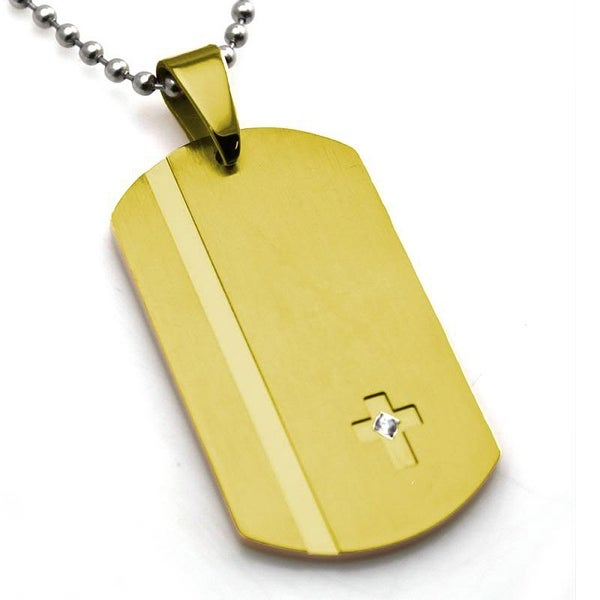 Stainless Steel Gold Plated Contemporary Dog Tag Cross w/ CZ Pendant - 24 inches