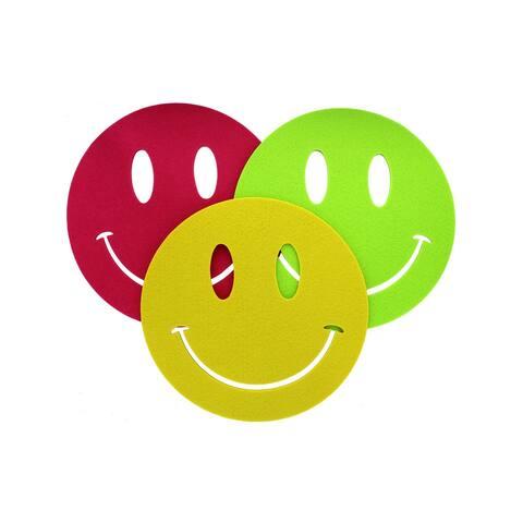 Darice Felt Base Smiley Astd Raspberry/Yellow/Grn