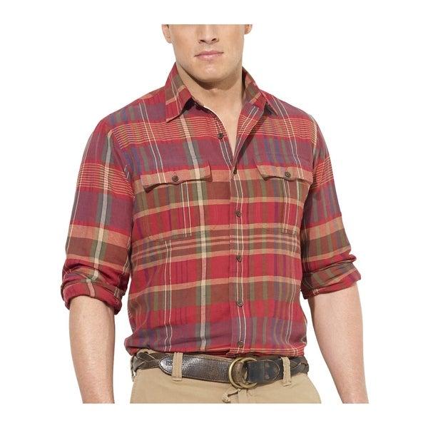 09925a4e2 Ralph Lauren RL Big and Tall Classic Fit Linen Blend Plaid Shirt Red 4XB