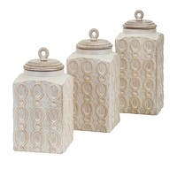 """Set of 3 Lovely Loops Cream Distressed Finish Stylish Storage Canisters 11"""""""