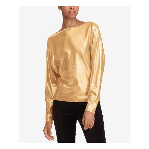 RALPH LAUREN Womens Gold Long Sleeve Boat Neck Tunic Top Size S