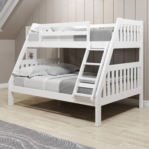 Twin-over-Full White Pine Wood Mission Bunk Bed