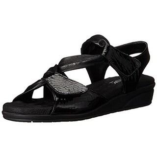 Walking Cradles Womens Valerie Leather Slingback Flat Sandals - 6 wide (c,d,w)