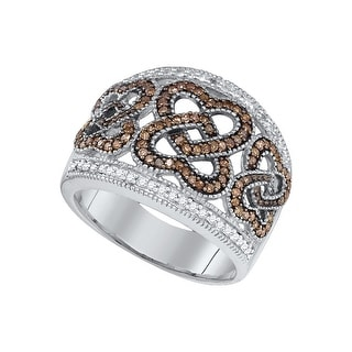 10k White Gold Womens Cognac-brown Colored Diamond Heart Love Cocktail Fashion Ring 1/2 Cttw - Brown