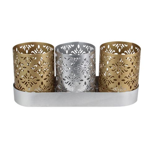 "9"" Metallic Silver and Gold Trio Votive Floral Candle Holders with Tray - N/A"