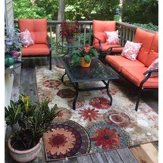 Porch & Den Park Circle Bexley Indoor/ Outdoor Printed Medallion Rug (5' x 8')