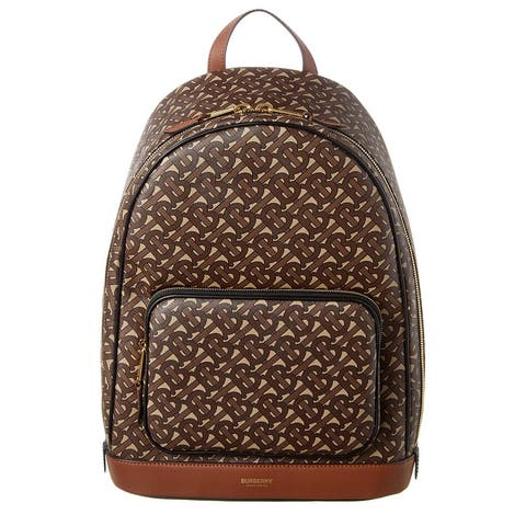 Burberry Large Monogram Print E-Canvas And Leather Backpack - NoSize