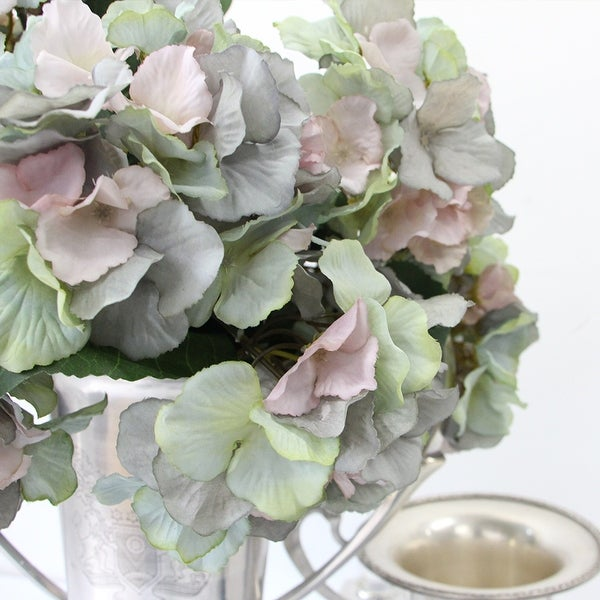 """FloralGoods Silk 5 Hydrangea Bloom Stem in Mixed Blue Pink and Green 18"""" Tall"""