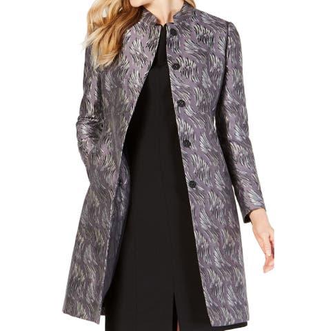 Anne Klein Women's Jacket Metallic Jacquard Trench Coat