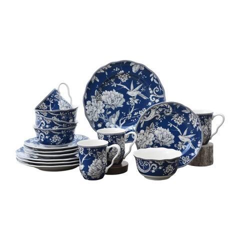 222 Fifth Adelaide 16-Piece Porcelain Dinnerware Set, Dark Blue