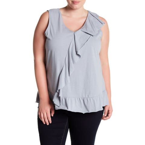 Bobeau Women's Blue Size 2X Plus Ruffle Trim V-Neck Tank Blouse