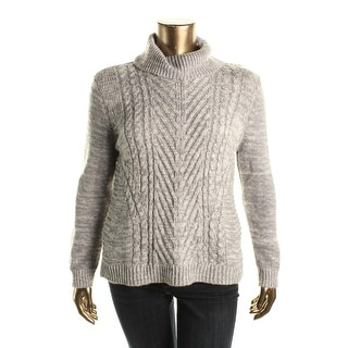 Karen Scott Womens Petites Cable Knit Marled Turtleneck Sweater - pxl