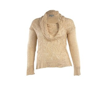 NY Collection Women's Cowl Neck Sequined Sweater