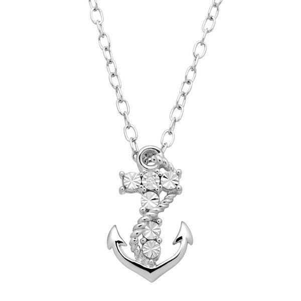 Mini Anchor Pendant with Diamond in Sterling Silver