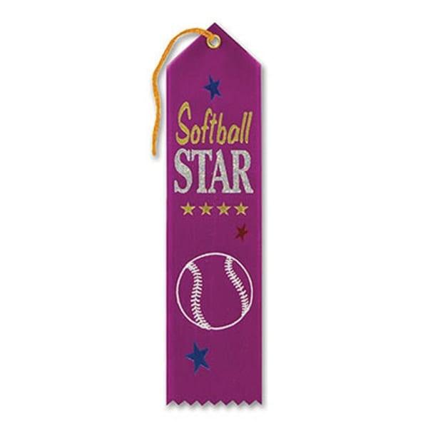 "Pack of 6 Purple ""Softball Star Award"" School Award Ribbon Bookmarks 8"""