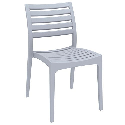 Ares Resin Outdoor Dining Chair (2 Chairs) - Silver