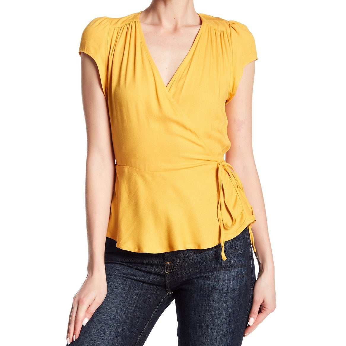 71e5e39c59 Love Fire Womens Blouse Yellow Size XL Surplice V-Neck Tie-Waist Ruffle-Hem  427