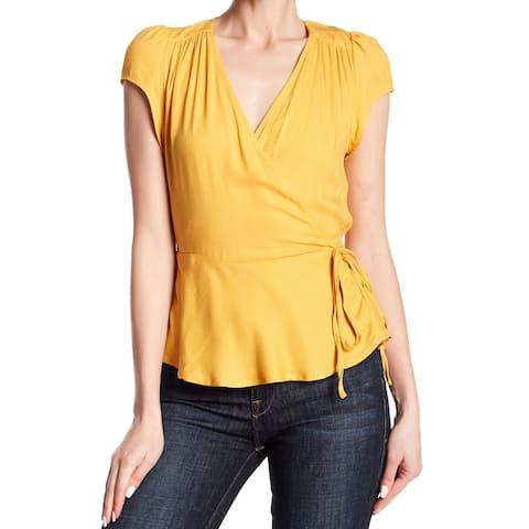 Love Fire Womens Blouse Yellow Size XL Surplice V-Neck Tie-Waist Ruffle-Hem 427