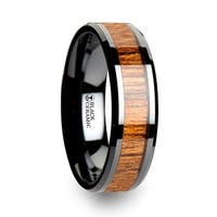THORSTEN - SAGON Black Ceramic Ring with Polished Bevels and Teak Wood Inlay - 6mm