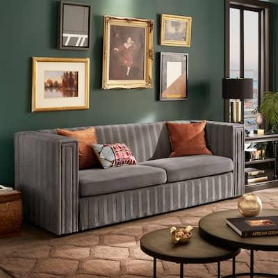 Sertori Dark Grey Velvet Pleated Sofa by iNSPIRE Q Modern