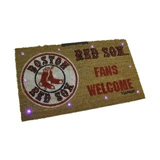 MLB Boston Red Sox LED Light Up Coir Doormat 28 x 16 inch - Brown