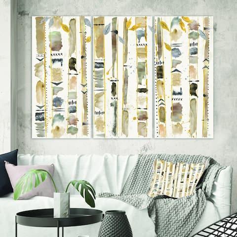 Designart 'Abstract Gold Birch Trees I' Modern & Transitional Canvas Art