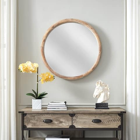 Rustic Wood Round Wall Mirror - One Size