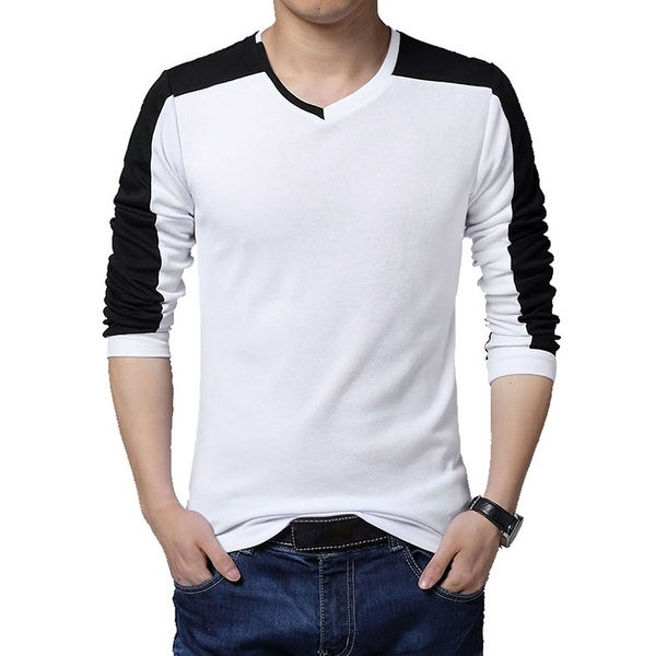 119feeee4c Shop Men's V Neck Long Sleeve Slim Fit Casual Color Block Shirt White L -  Free Shipping On Orders Over $45 - Overstock - 17594167