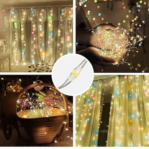 300LED USB RGB Color Waterproof String Lights with Remote Control - 8' x 10'
