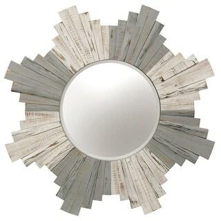 "StyleCraft SC-MI12668  36"" Diameter Circular Beveled Wood Framed Hanging Decorative Mirror - White-Washed Gray"