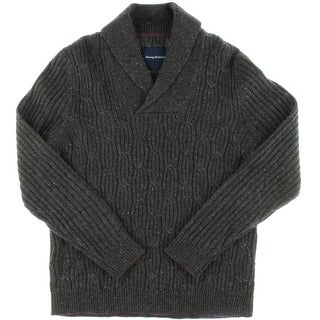 Tommy Bahama Mens Kingside Cable Shawl Extra Fine Merino Wool Cable Knit Sweater