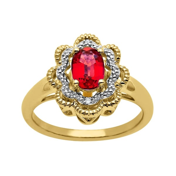 1 ct Ruby Ring with Diamonds in 14K Gold-Plated Sterling Silver - Red