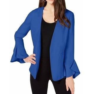 Alfani Womens Jacket Blue Size Large L Flounce Sleeve Open-Front Blazer
