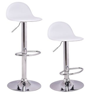 Costway Set of 2 Swivel Bar Stools Modern Adjustable Height Diner Seat Chairs White