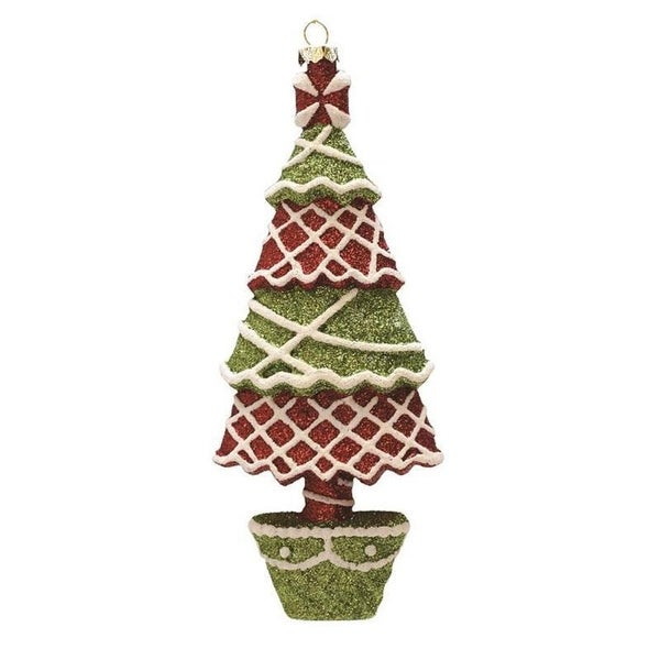 """7"""" Merry & Bright Red, Green and White Glitter Shatterproof Christmas Tree Ornament - RED"""