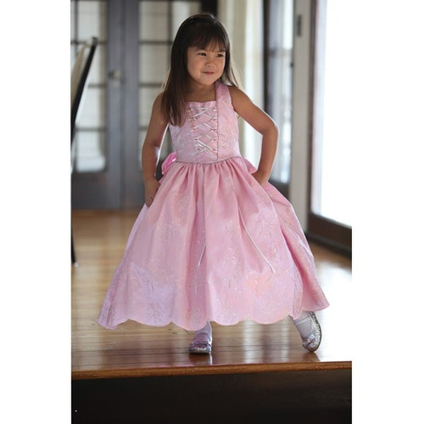 Angels Garment Pink Taffeta Tie Bow Flower Little Girl Dress 2T-6