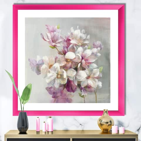 Designart 'Pink Magnolia Flowers' Shabby Chic Framed Art Print