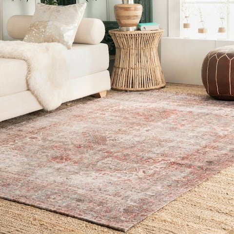 nuLOOM Traditional Vintage Medallion Flatweave Cotton Blend Bohannon Area Rug