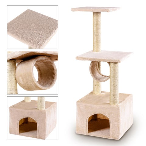 Gymax Deluxe 37'' Cat Tree Condo Furniture Play Toy Scratch Post Kitten Pet House Beige