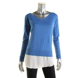 DKNYC Womens Aymmetrical Ribbed Trim Pullover Top