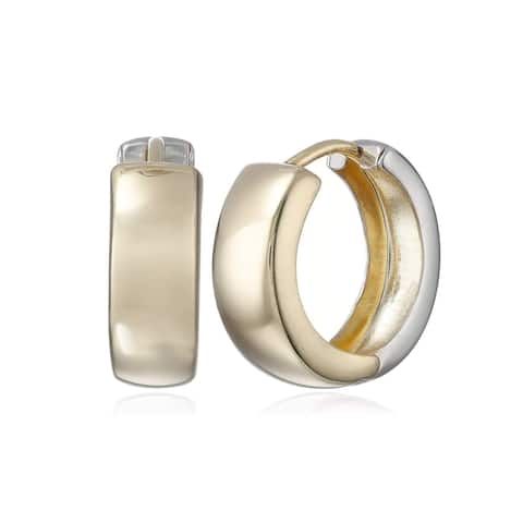 Reversible Huggie Hoop Earrings in Sterling Silver & 14K Gold Plate - Two-Tone