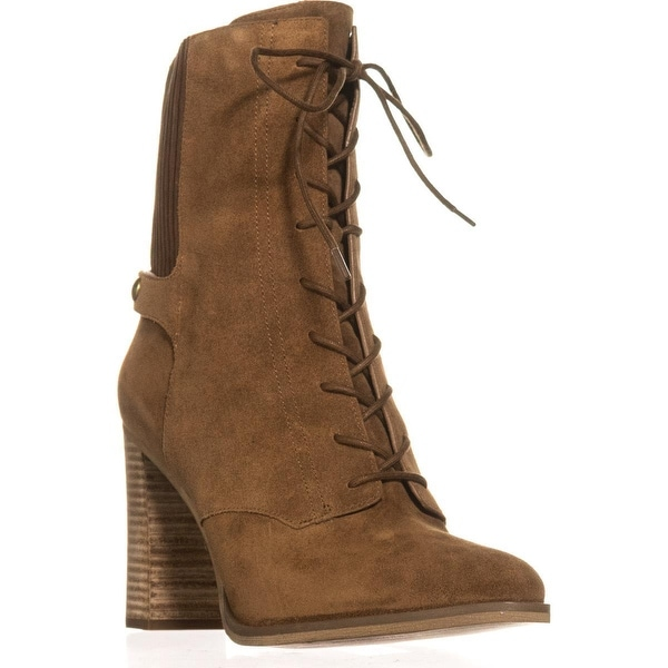 MICHAEL Michael Kors Carrigan Bootie Lace Up Mid-Calf Boots, Dark Caramel