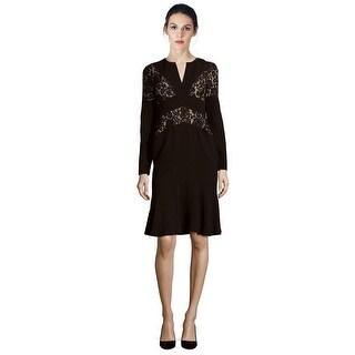 BCBGMaxazria Krizia Lace Trim Long Sleeve V-neck Cocktail Dress - 6