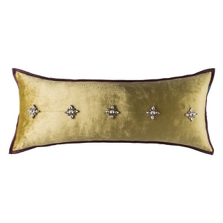Classic Glam Beaded Velvet Solid Decorative Handmade Throw Pillow Cover