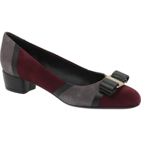 Salvatore Ferragamo Women's Vara Patchwork Pump Deep Bordeaux/Light Flannel/Nero Goat Suede