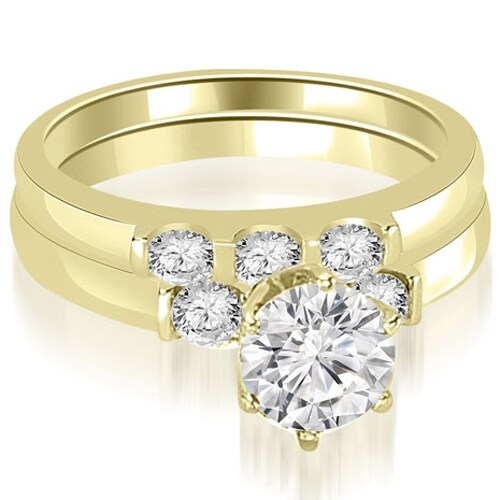 1.25 cttw. 14K Yellow Gold Round Cut Diamond Engagement Bridal Set