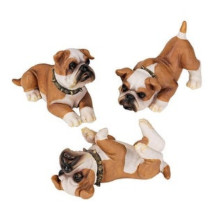 Design Toscano Stop, Drop and Roll British Bulldog Puppy Statues: Set of Three