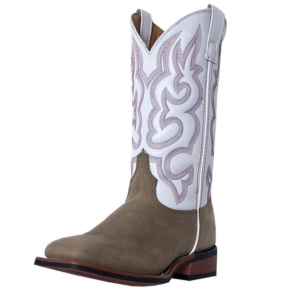 Laredo Western Boots Womens Mesquite Leather Square Taupe White