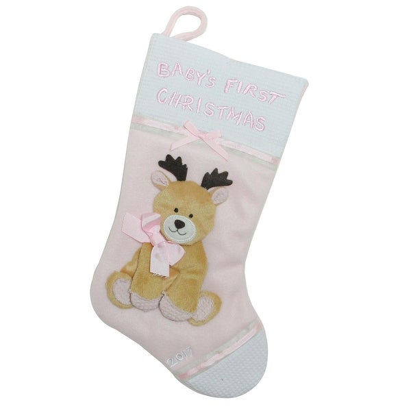 "16"" Pink and White ""Baby's First Christmas 2017"" Christmas Stocking with Reindeer"