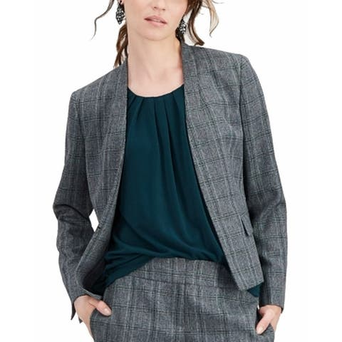 Kasper Women's Jacket Plaid Gray Green Size 4 Collarless Pockets